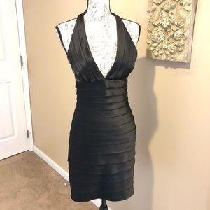 BCBG MAXAZRIA Black Raw Edge Tiered Cocktail Dress